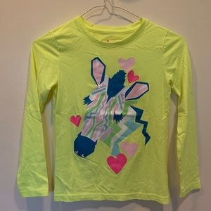 kid's neon yellow long sleeve graphic tee